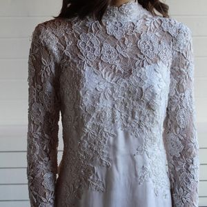 Vintage 1970's High Neck Floral Beaded Bridal Gown